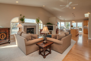 Main level entry and living room is light, airy, and beautifully finished.