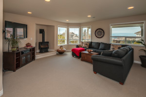The next level down offers a large family room with a second fireplace and more unstoppable views...